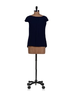 Navy Blue Single Pleat Top - Femella
