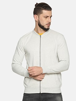 white solid casual jacket