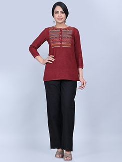 embroidered top pants set