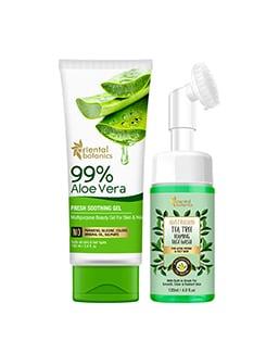 oriental botanics soothing skin care combo | 99% aloe vera gel 100ml + tea tree foaming face wash 120ml