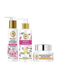 mom & world skin care combo | repair renew face wash 100ml + mama's hair oil 200ml + radiant boost under eye cream 30g