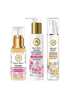 mom & world moisturizing combo | repair renew face wash 100ml + under eye serum 100ml + radiant boost day lotion 50ml