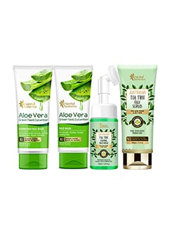 aloe vera face wash + face mask (100ml each) + tea tree face wash 120ml + face scrub 100g