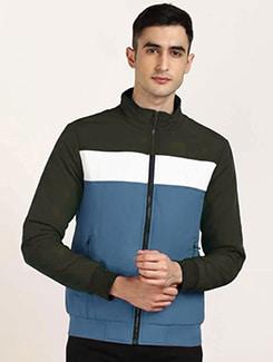 blue color block casual jacket