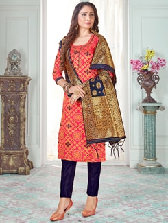 self design churidaar unstitched suit