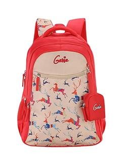 pink polyester backpack