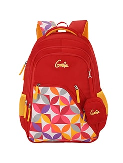 red polyester backpack