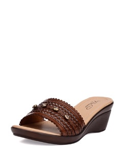 Dark Brown Studded Sandals - La Briza