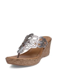 Silver Cutwork Sandals - La Briza