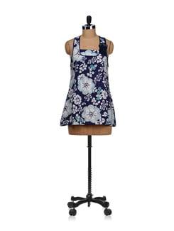 Navy Blue Sequined Floral Dress - SPECIES