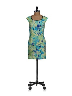Green-blue Forest Print Dress - SPECIES