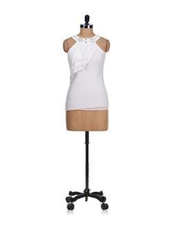 Studded White Sarong Style Top - SPECIES