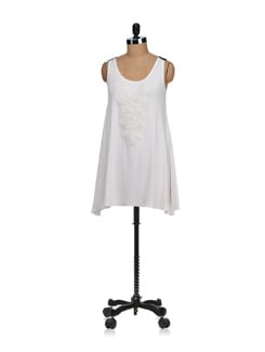 Sleeveless Off-white Embroidered Top - SPECIES