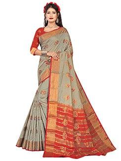 ethnic motifs kanjivaram saree with blouse