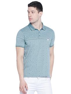 green self design polo t-shirt