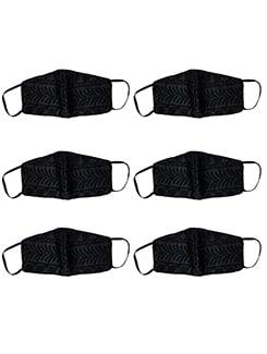 set of 6 black chikankari cotton face mask
