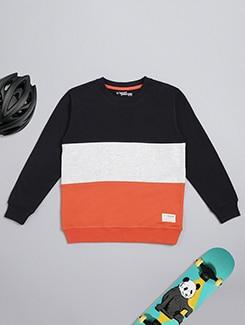 round neck color block sweatshirt