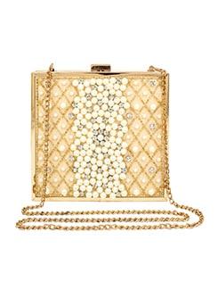 gold satin box clutch