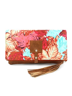 red leatherette (pu) fold over clutch
