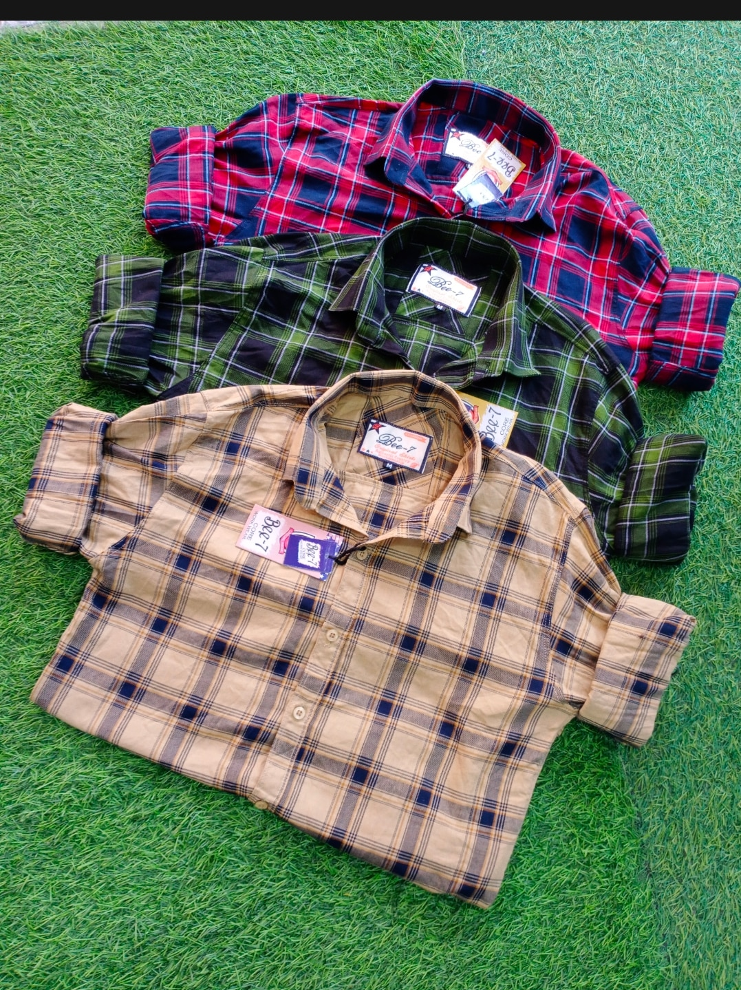 men's shirts yellow green and red