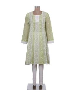 Green & White Embroidered Kalidaar Kurta - Ada