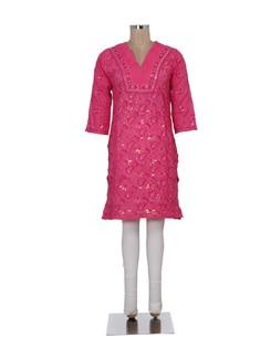 Rose Pink Chikankari Kurta - Ada