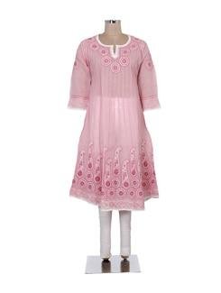 Sheer Pink Chikankari Kurta - Ada