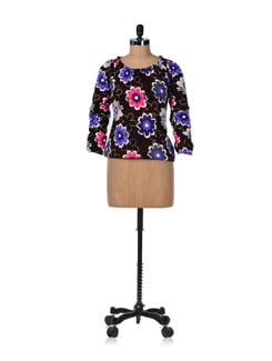 Brown Floral Balloon Top - GRITSTONES