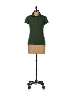 Olive Green Polo Neck Tee - GRITSTONES