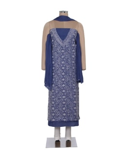 Intricate Navy Blue Chikan Dress Material - Ada