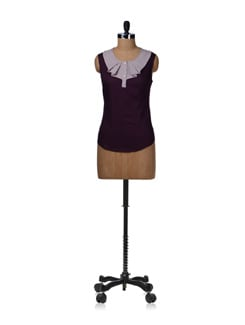 Striped Wine Frill Neck Top - Kaxiaa