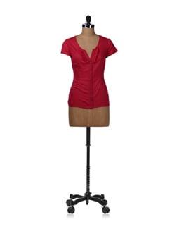 Flirty Raspberry Ruffled Shirt - Kaxiaa
