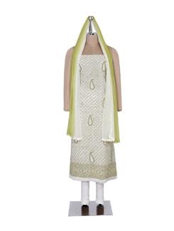 White And Green Chikankari Suit Piece - Ada