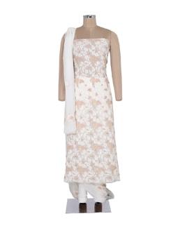 White Sequinned Chikankari Suit Piece Set - Ada