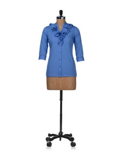 Ruffled Blue Top - STYLE QUOTIENT BY NOI