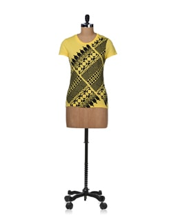 Trendy Black And Yellow Top - STYLE QUOTIENT BY NOI
