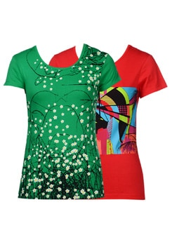 Abstract Print T-shirts- Pack Of 2 - STYLE QUOTIENT BY NOI