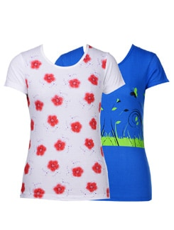 Floral Prints Tees-pack Of 2 - STYLE QUOTIENT BY NOI