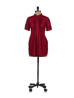Casual Maroon Pleated Tunic - ABHISHTI
