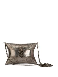 Silver Antique Finish Clutch - YELLOE