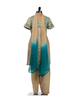 Beige And Green Embroidered Suit - Vedanta