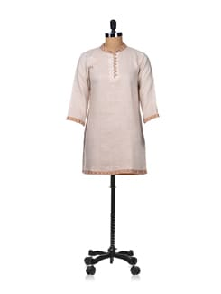 Elegant Beige Kurti With Neck Embroidery - Vedanta