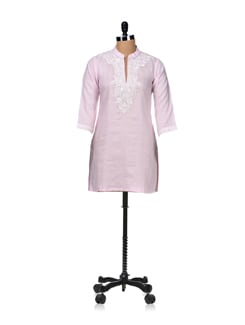 Sheer Pink Embroidered Kurta - Vedanta