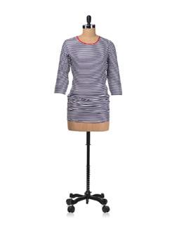 White-purple Ruched Stripe Dress - Femella