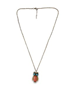Owl Pendant Gold And Pastel Necklace - THE PARI
