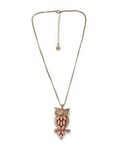 Pink And Gold Owl Necklace - THE PARI