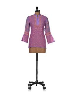 Elegant Purple Embroidered Kurti - Vandeymatram