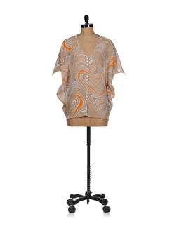 Beige-orange Batwing Sheer Top - Tops And Tunics