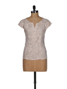 Shy Pink Paisley Print Cotton Top - Tops And Tunics