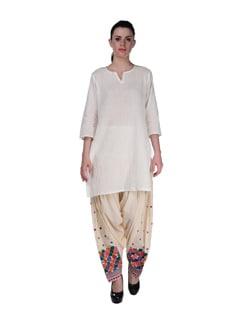 Cream Phulkari Patiala Salwar - Home Of Impression